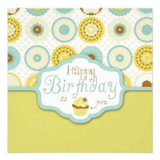 Sweet Retro Cupcake Birthday Invite