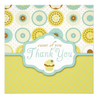 Sweet Retro Cupcake Thank You Personalized Invite