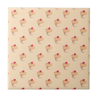 Sweet retro cupcakes muffins with heart small square tile