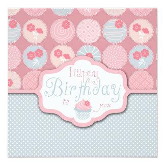 Sweet Retro Flower Cupcake Birthday 13 Cm X 13 Cm Square Invitation Card