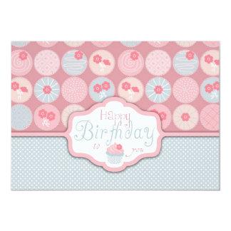 Sweet Retro Flower Cupcake Birthday 13 Cm X 18 Cm Invitation Card