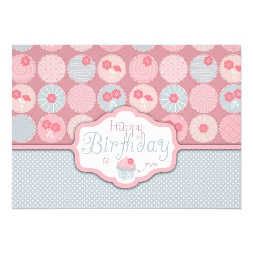 Sweet Retro Flower Cupcake Birthday Personalized Announcements