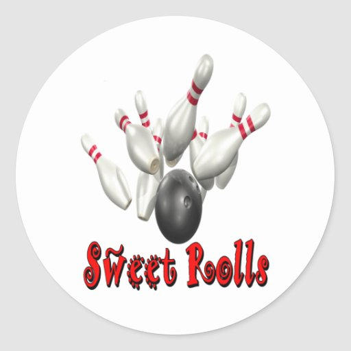 Sweet Rolls Bowling Round Stickers