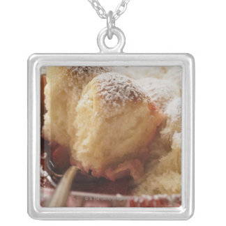 Sweet rolls (Buchteln) with icing sugar Silver Plated Necklace