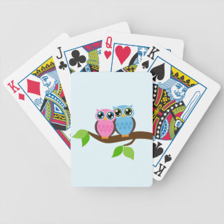 Sweet Romantic Owls Bicycle Playing Cards