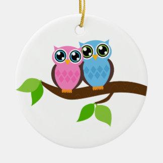 Sweet Romantic Owls Christmas Ornament