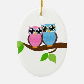 Sweet Romantic Owls Christmas Ornament