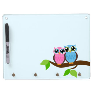 Sweet Romantic Owls Dry Erase Board With Key Ring Holder