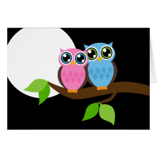 Sweet Romantic Owls Greeting Card
