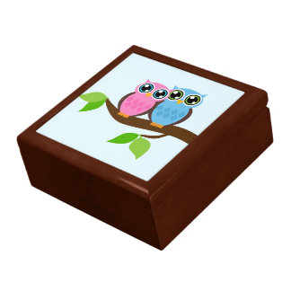 Sweet Romantic Owls Large Square Gift Box