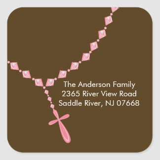 Sweet Rosary Beads Address Sticker Baptism
