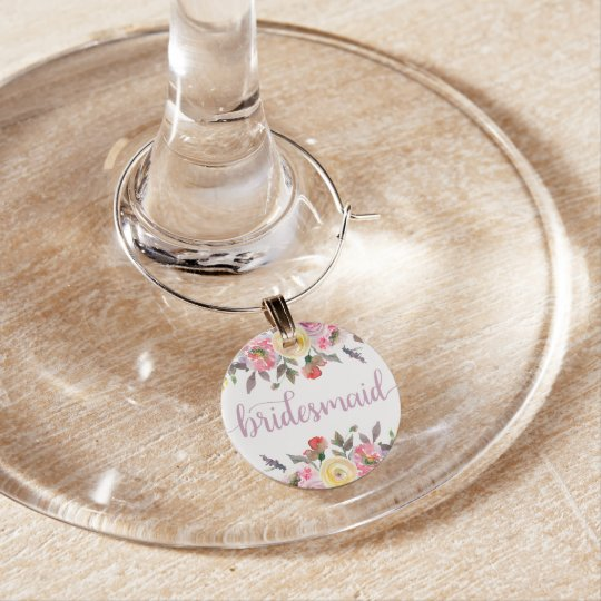 Sweet Rose Watercolor Floral Bridesmaid Wine Glass Wine