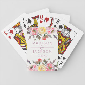 Sweet Rose Watercolor Floral Wedding Favor Playing Cards
