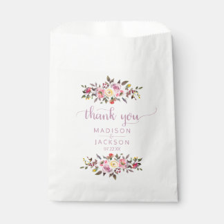 Sweet Rose Watercolor Floral Wedding Thank You Favour Bags