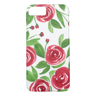 Sweet Roses Romantic Red - Watercolor Flowers iPhone 8/7 Case