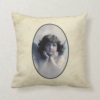 Sweet Rosy Cheeked Vintage Angel in Clouds Throw Pillows