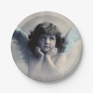 Sweet Rosy Cheeked Vintage Angel in Clouds 7 Inch Paper Plate
