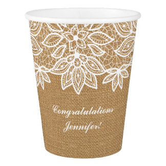Sweet Rustic Burlap and Lace with Personalization Paper Cup