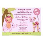 Sweet Safari Baby Shower invitation jungle girl SS 13 Cm X 18 Cm Invitation Card