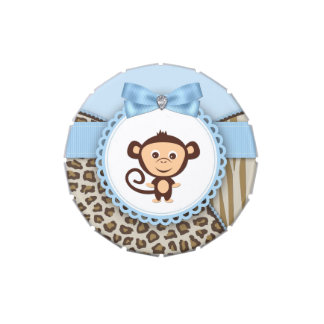 Sweet Safari Brown and Blue Monkey Baby Shower Candy Tins