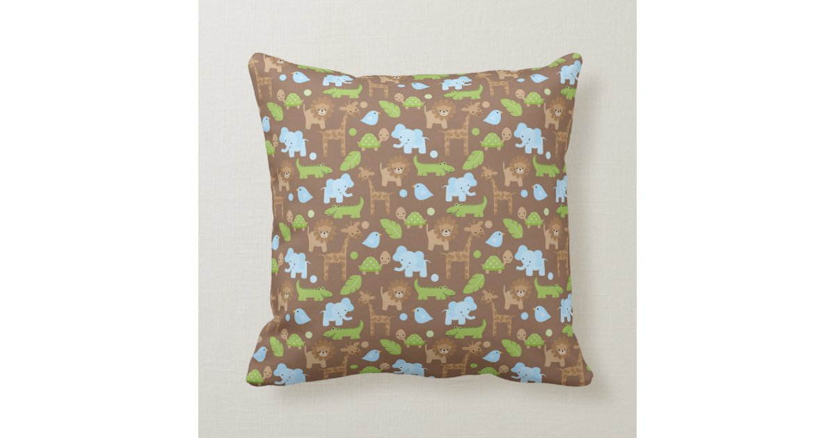 Animal Nursery Pillows : Sweet Safari Jungle Animals Nursery Throw Pillow Throw Cushion Zazzle