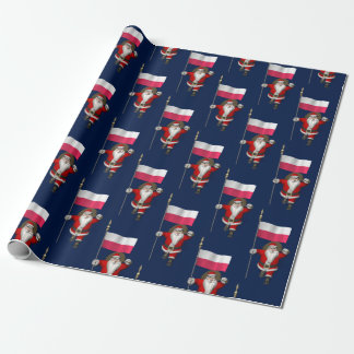 Sweet Saint Nicholas With Banner Of Poland Wrapping Paper