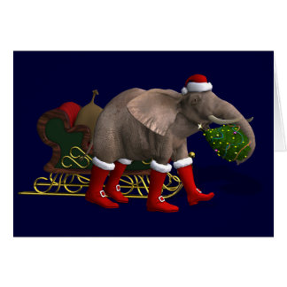 Sweet Santa Claus Elephant Greeting Card