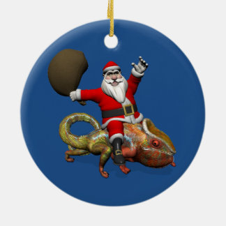 Sweet Santa Claus On Huge Panther Chameleon Christmas Ornament