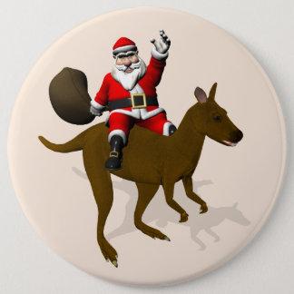 Sweet Santa Claus Riding On Kangaroo 6 Cm Round Badge