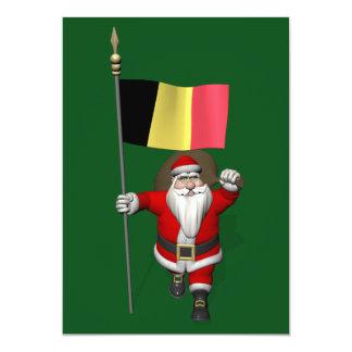 Sweet Santa Claus With Ensign Of Belgium 13 Cm X 18 Cm Invitation Card