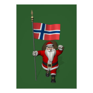 Sweet Santa Claus With Ensign Of Norway Poster