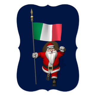 Sweet Santa Claus With Flag Of Italy Custom Announcement Cards