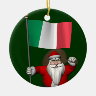 Sweet Santa Claus With Flag Of Italy Round Ceramic Decoration