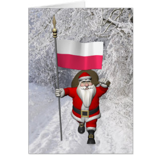 Sweet Santa Claus With Flag Of Poland Greeting Card
