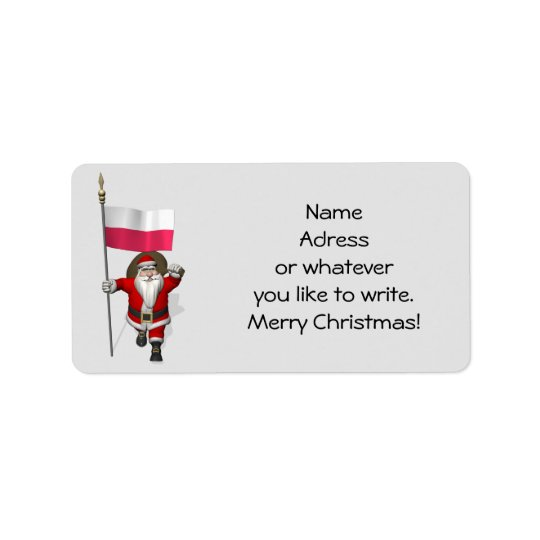 Sweet Santa Claus With Flag Of Poland Label