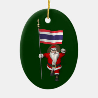 Sweet Santa Claus With Flag Of Thailand Christmas Ornament