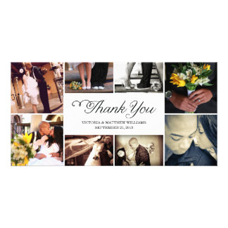 SWEET SCRIPT COLLAGE WEDDING THANK YOU CARD CUSTOMIZED PHOTO CARD