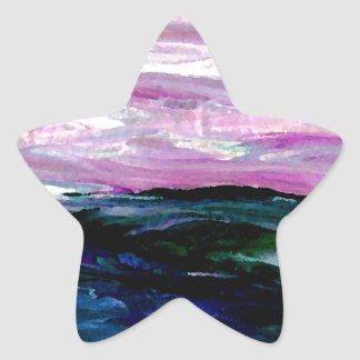 Sweet Season Ocean Seascape Sunrise Waves Star Sticker