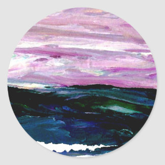Sweet Season Ocean Seascape Sunrise Waves Round Stickers