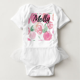Sweet Shirt with a Tutu Watercolor Roses and Name