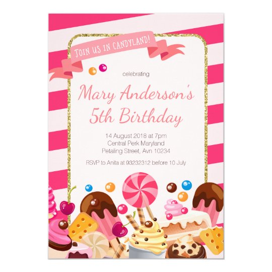 Sweet Shop Candyland birthday Party Invitation