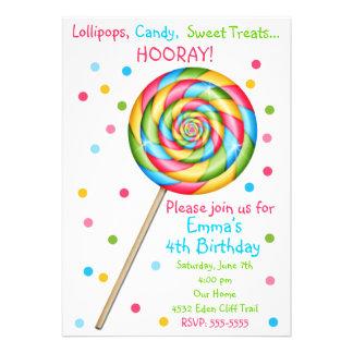 Sweet Shop Lollipop Birthday Invitations