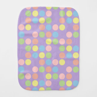 Sweet Shop Polka Dots on Lavender Personalized Baby Burp Cloths