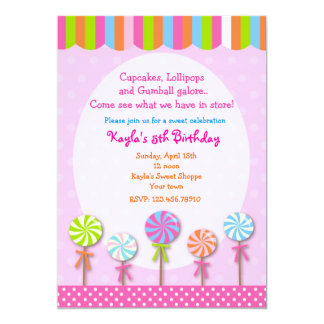Sweet Shoppe  Candyland Birthday Invitations