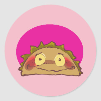 sweet shy taco cartoon round sticker
