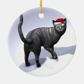 Sweet Silver Tabby Cat With Santa Claus Cap Christmas Ornaments