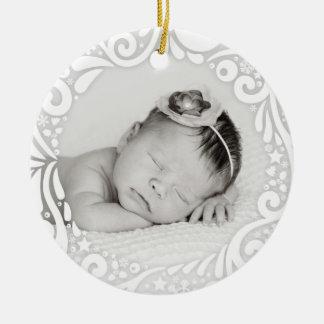 Sweet Simple White Swirl Design | custom photo Round Ceramic Decoration