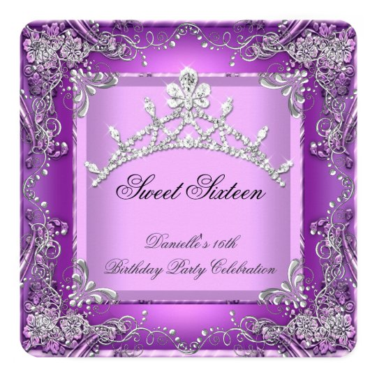 Sweet Sixteen 16 16th Birthday Party Purple Card