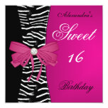 Sweet Sixteen 16 16th Bright Pink Zebra Black Bow Announcements