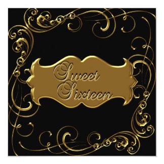 Sweet Sixteen 16 Birthday Elegant Black Gold 13 Cm X 13 Cm Square Invitation Card